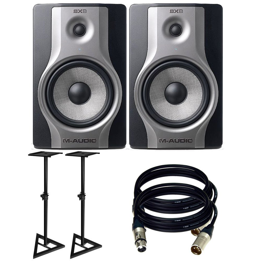 m audio bx8 carbon pair speaker studio monitors with free speaker stands and 2 xlr cables. Black Bedroom Furniture Sets. Home Design Ideas