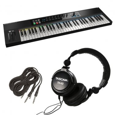 Native Instruments Komplete Kontrol S61 Controller Keyboard. W/ Tascam TH02 and 2 TRS Cables.