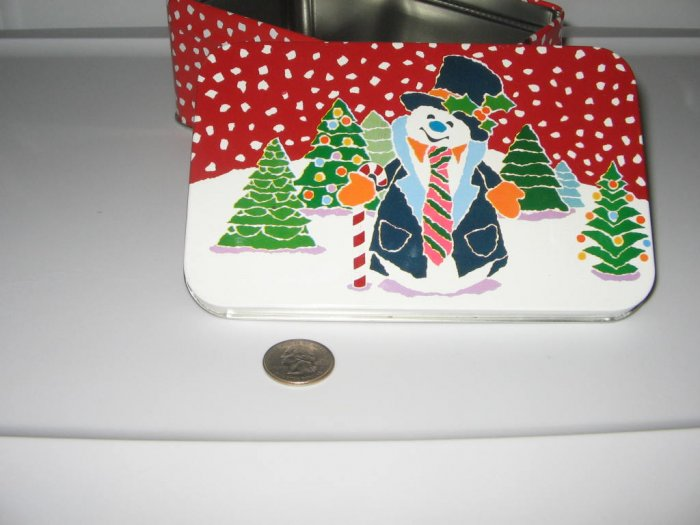 Christmas Holiday Snowman Tin Box Collectible