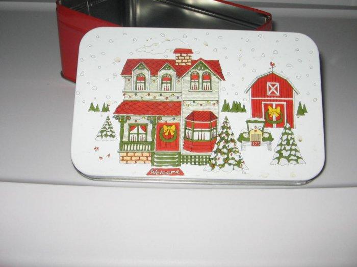 Christmas Holiday House Scene Tin Box Collectible