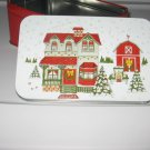 Christmas Holiday House Scene Tin Box Collectible