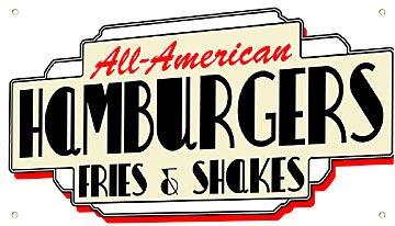 Metal Sign - All American Hamburgers