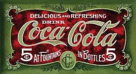 Metal Sign - Coca Cola - 1900's 5 Cent