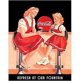 Metal Sign - Coca Cola - Refresh Fountain