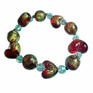 Glitter Heart Bracelet - Red