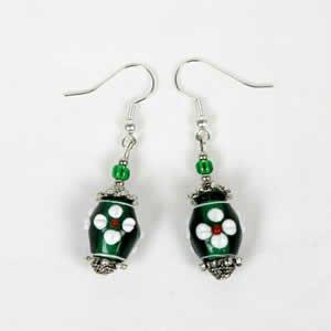 Gypsy Lampwork Bead Earrings - Green
