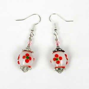 Gypsy Lampwork Bead Earrings - Red
