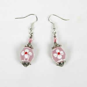 Gypsy Lampwork Bead Earrings - Pink