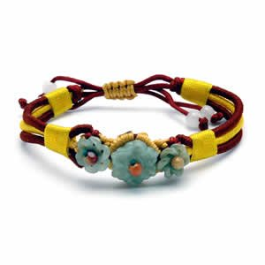 Jessica Bracelet - Three Flower Red/Yellow Weave
