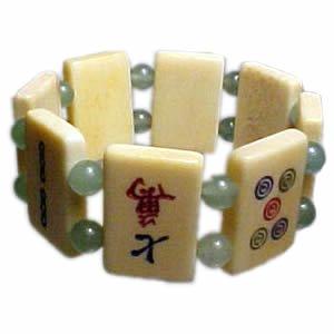 Mah Jong Bracelet - Green Bead/Jade