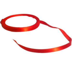 "Red Chinese Silk Ribbon - Spool - 9 Yds X 1/4"""