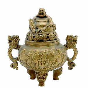 Burner - Hotei Buddha - Brass