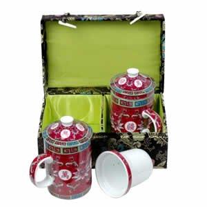 Tea Mugs - Tea for Two - Black with Fuchsia Cups