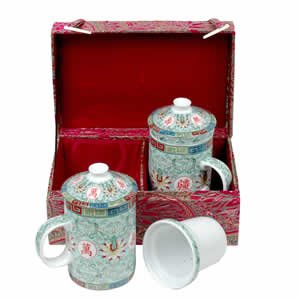 Tea Mugs - Tea for Two - Magenta with Green Cups