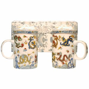 Tea Mugs - Tea for Two - Silver/White Dragon Cups