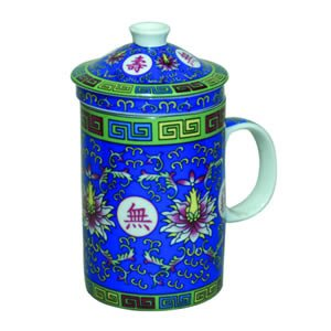 Tea Cup w/Strainer - Traditional - Blue
