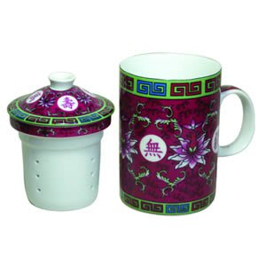 Tea Cup w/Strainer - Traditional - Fuchsia