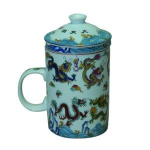 Tea Cup w/Strainer - White Dragon