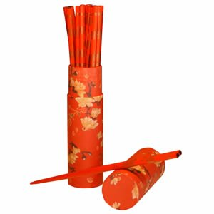 Wood Chopsticks in Tube - 10 Pairs - Red/Red Tube