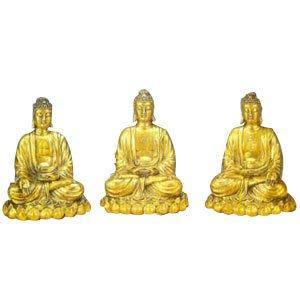 Set of 3 Buddhas - Brass - 10 inch