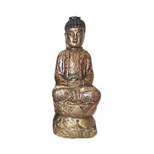 Meditating Buddha on Lotus - Camphor Wood -12.6 inch