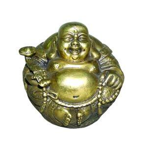 Sitting Laughing Hotai Buddha - Brass - 2 Inches