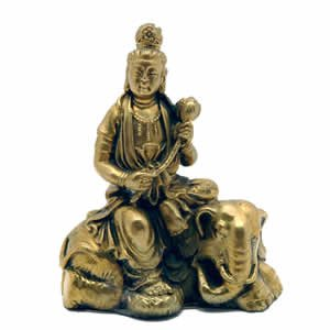 Kwan Yin on Elephant - Brass - 2.5 inch