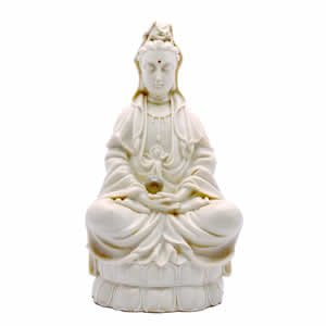 Kwan Yin Sculpture with mini Crystal Ball - White Resin - 12 inch