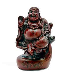 Blessing Buddha - Red Resin - 5.5 inch
