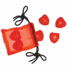 Chinese Cinnabar Heart Magnets - Set of 6 in Organza Bag