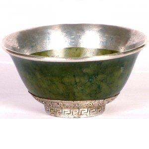 Jade Ritual Bowl Engraved Flower Motifs