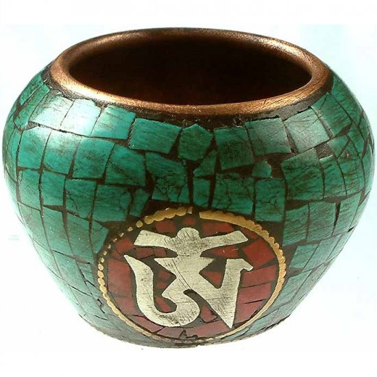 Ritual Bowl with Om - Jade and Copper