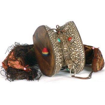 Ritual Damaru with Silk Tassel and Gemstones