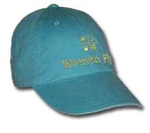 Women Fly Hat: Caribbean Blue Hat/Yellow Embroidery