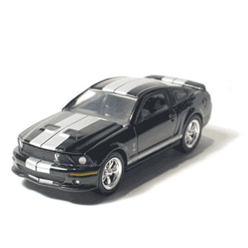 2007 Shelby GT 500 Black w/Silver Stripes 1/64 Mustang Muscle Car Garage Series By GreenLight