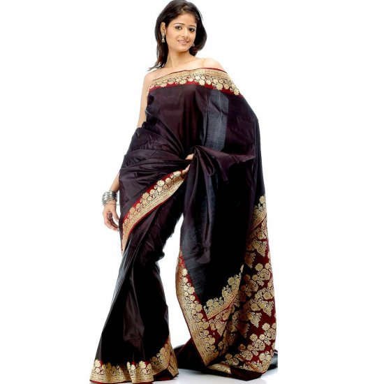 Black Satin Valkalam Sari with Floral Brocaded Border and Pallu