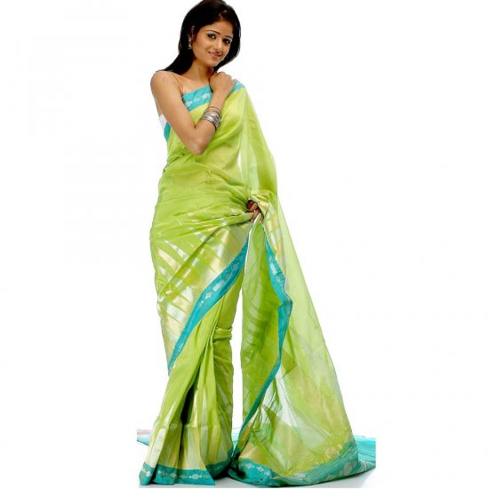 Lime Green Valkalam Sari from Banaras with Khadi Temple Weave