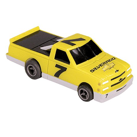 Chevy Silverado Truck-Yellow Electric Racing Slot Car Life-Like Products -433-9754