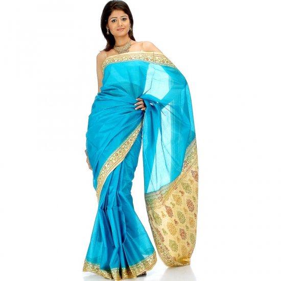 Plain Turquoise Tussar Sari with Banarasi Brocade on Border and Pallu