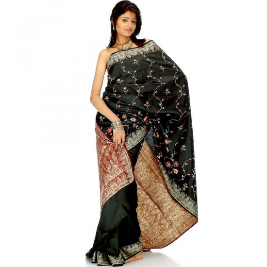 Black Banarasi Sari with Embroidery on Anchal