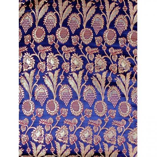 Cobalt-Blue Brocade with Golden Thread Weave Tibetan Flowers