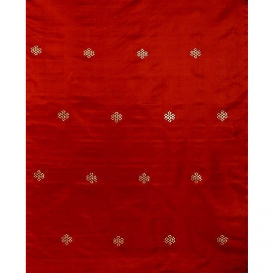 Rust-Red Brocade with Endless Knot (Ashtamangala) Fabric