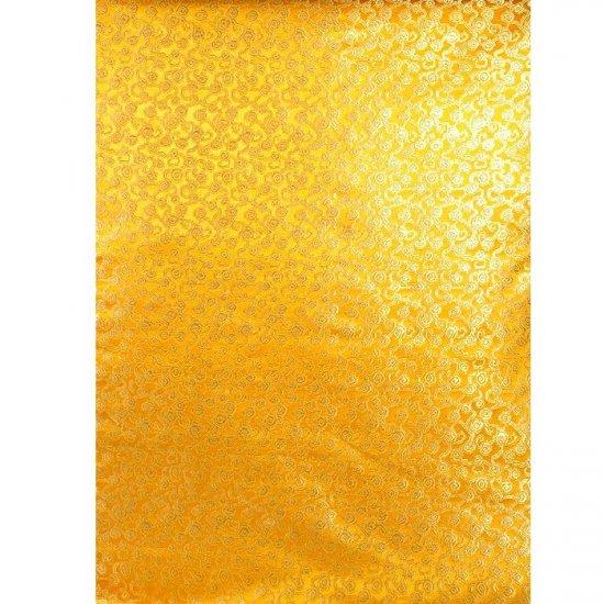 Tangerine Yellow Brocade with Golden Thread Weave