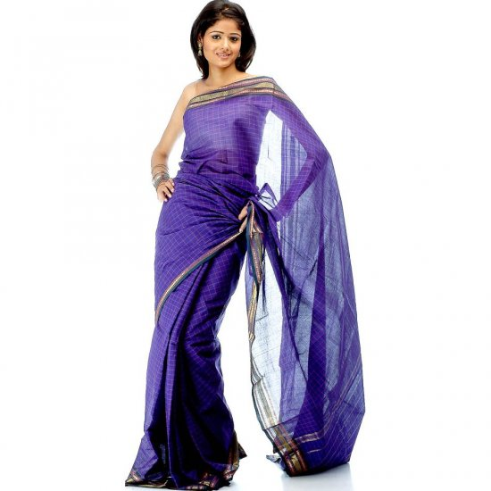 Indigo South Cotton Sari with Rudraksha Border and Checks