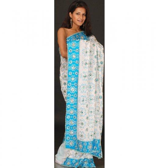 Water and Ice Bridal Sari with Dense Beadwork and Mirrors