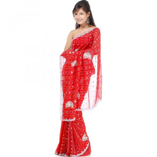 Red Bridal Sari with All-Over Mirrors and Sequins