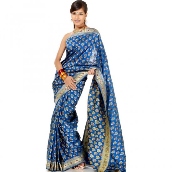 Cerulean Jamdani Banarasi Sari Handwoven with All-Over Floral Bootis