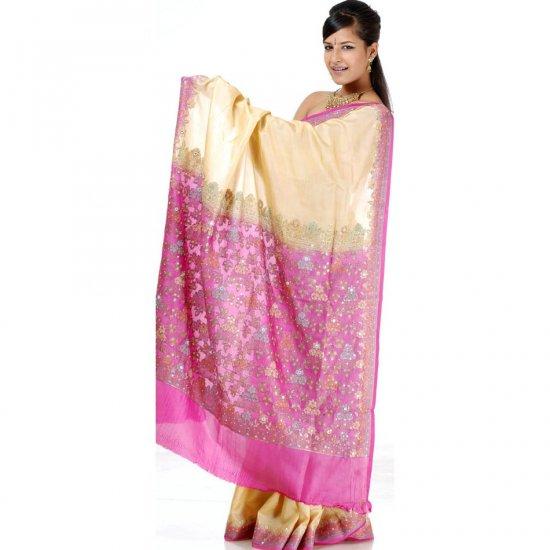 Plain Light Khaki Tussar Sari with Beads and Sequins