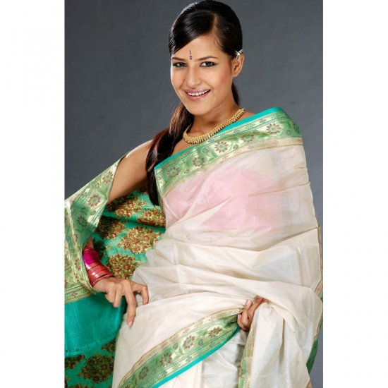 Plain Ivory Tussar Sari with Banarasi Brocade on Border and Pallu