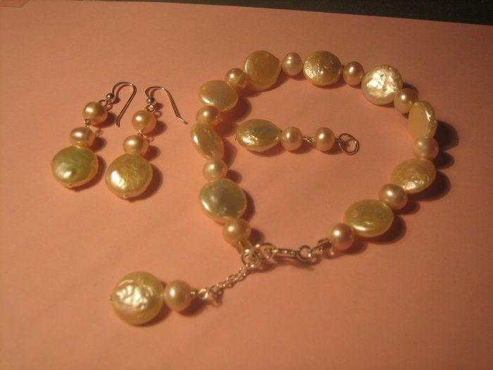 Pink Coin Freshwater pearl set.